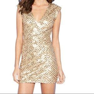 Forever21 Gold Sequin mini dress, size S